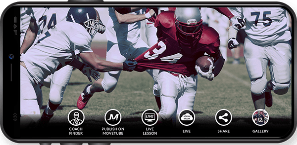 American football player filmed with the MOVE 'N APP on an iPhone